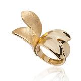 Золотое кольцо Ювелирные лепестки в евро цвете с частичным матированием