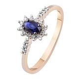 Золотое кольцо с бриллиантами и сапфиром Афина