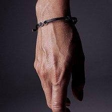 Кожаный браслет с серебром Infinity Black с чернением