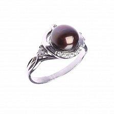 Серебряное кольцо Надина с черным жемчугом и фианитами