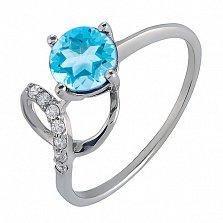 Серебряное кольцо с голубым топазом Яна