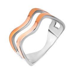 Серебряное кольцо с золотыми накладками 000102114