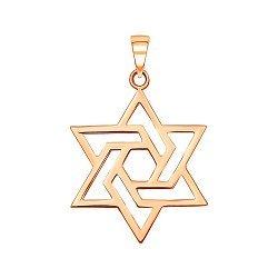 Золотая подвеска Звезда Давида в красном цвете 000129471