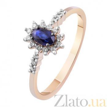 Золотое кольцо с бриллиантами и сапфиром Афина KBL--К1980/крас/сапф