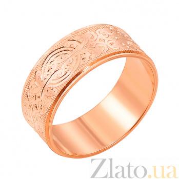 Золотое обручальное кольцо Ясмин в красном цвете с алмазной гранью  1070/4
