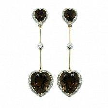 Золотые серьги с бриллиантами и раухтопазами Танго