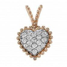 Кулон из красного золота Роскошное сердце с бриллиантами