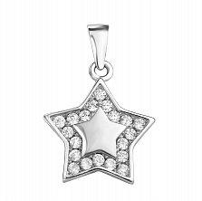 Серебряная родированная подвеска Звезда с белыми фианитами