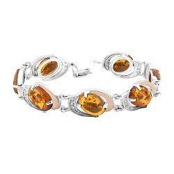 Серебряный браслет Азиза с золотыми накладками, янтарем и фианитами