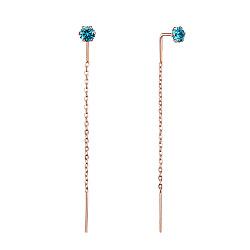 Серьги-подвески из красного золота с голубыми фианитами 000117400