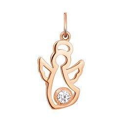 Золотой кулон Нежный ангел с завальцованным белым фианитом 000113108