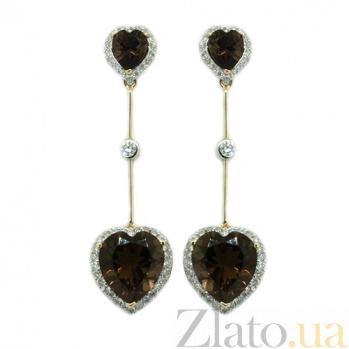 Золотые серьги с бриллиантами и раухтопазами Танго ZMX--ERt-6609y_K
