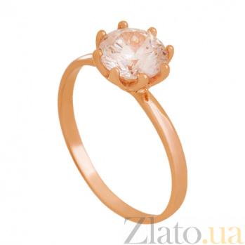 Золотое кольцо с цирконием Ева 000029433