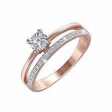 Серебряное кольцо Дина с позолотой и фианитами