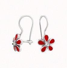 Серебряные детские серьги Милые цветочки с красной эмалью и фианитами
