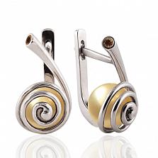 Серьги Морской вихрь с золотистым жемчугом и бриллиантом