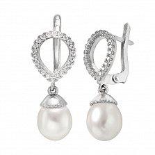 Серебряные серьги-подвески Татьяна с жемчугом и фианитами