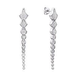 Серебряные серьги-подвески с цирконием 000134022