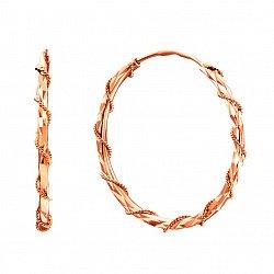 Серьги-конго из красного золота с алмазной гранью 000129090