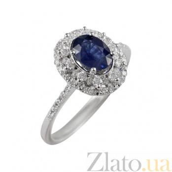 Золотое кольцо с сапфиром и бриллиантами Небесный свет 000026883