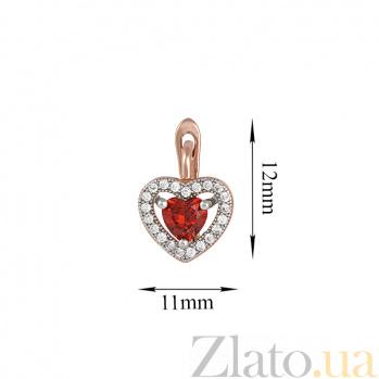 Серебряные сережки Love you с позолотой, красными и белыми фианитами 000024559