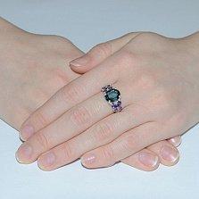 Серебряное кольцо Анжелика с голубым и фиолетовым цирконием