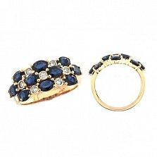 Кольцо из красного золота Иванна с бриллиантами и сапфирами