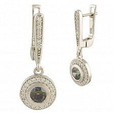 Серебряные серьги-подвески Аглая с топазом мистик и фианитами