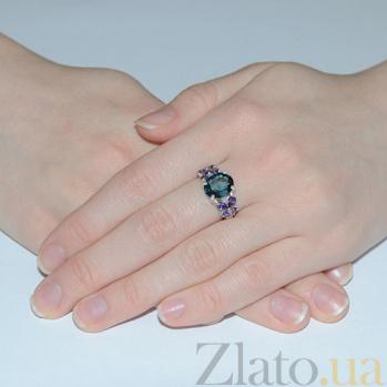 Серебряное кольцо Анжелика с голубым и фиолетовым цирконием 000018757