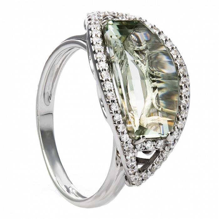 Серебряное кольцо с зеленым кварцем Катарина 000030074