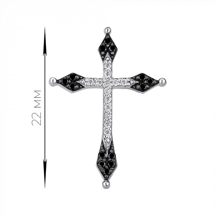 Крестик из белого золота с бриллиантами 000142370 000142370