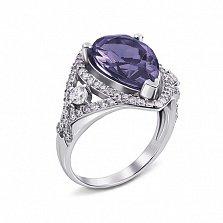 Серебряное кольцо Мерилин с аметистом и фианитами