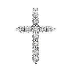 Крестик из белого золота с бриллиантами 0.48ct 000145336