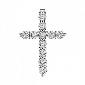 Хрестик з білого золота з діамантами 0.48 ct 000145336