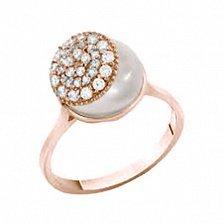 Золотое кольцо с жемчугом и фианитами Джанис
