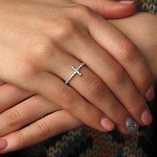 Серебряное кольцо Крестовик с белыми фианитами