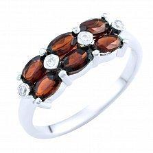 Серебряное кольцо Рафаэла с гранатом и фианитами