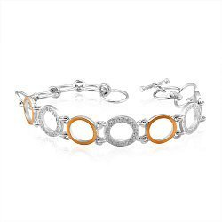 Серебряный браслет с золотыми накладками и фианитами 000116175