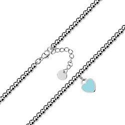 Серебряный браслет с подвеской-сердечком и голубой эмалью 000131842