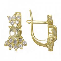 Серьги из желтого золота Марица с бериллом цвета шампань и фианитами 000089550