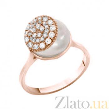 Золотое кольцо с жемчугом и фианитами Джанис 000023209