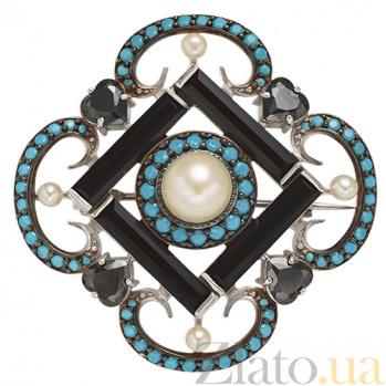 Серебряная брошь Ночное рандеву Беатрис TNG--669098С