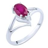 Серебряное кольцо Эльмира с рубином и цирконием