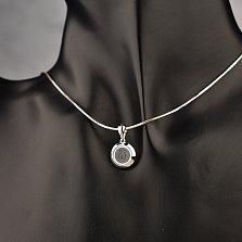Серебряный кулон Мишутка с ювелирным стеклом и черной эмалью в стиле Тоус