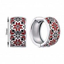 Серебряные серьги-конго с красной и черной эмалью 000133733