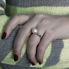 Кольцо в белом золоте Русалочка с жемчугом