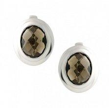 Серебряные серьги Гермия с раухтопазом
