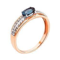 Кольцо из красного золота с лондон топазом, фианитами и родированием 000131322
