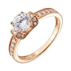 Кольцо в красном золоте с фианитами 000022902