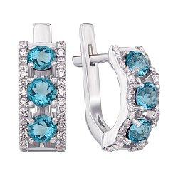 Серебряные серьги Джульетта с голубыми топазами и фианитами